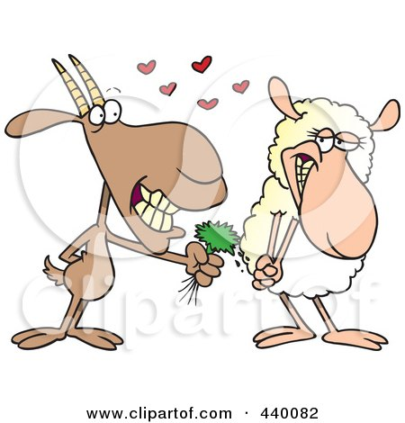 Royalty-Free (RF) Clip Art Illustration of a Cartoon Goat Giving A Sheep Grass by toonaday