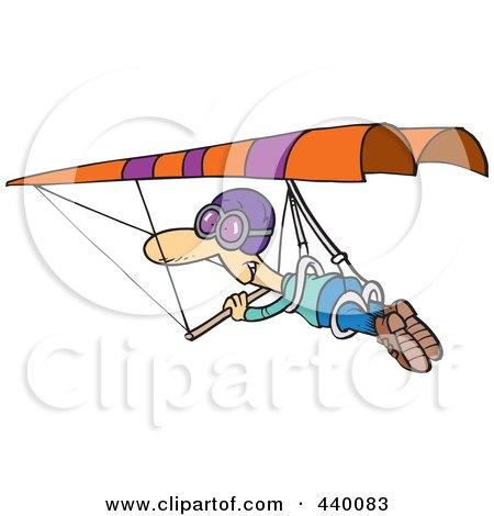 Royalty-Free (RF) Clip Art Illustration of a Cartoon Man Hang Gliding by toonaday