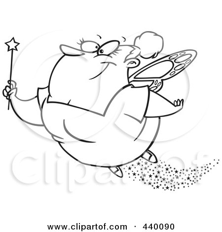 Royalty-Free (RF) Clip Art Illustration of a Cartoon Black And White Outline Design Of A Fairy Godmother Flying by toonaday
