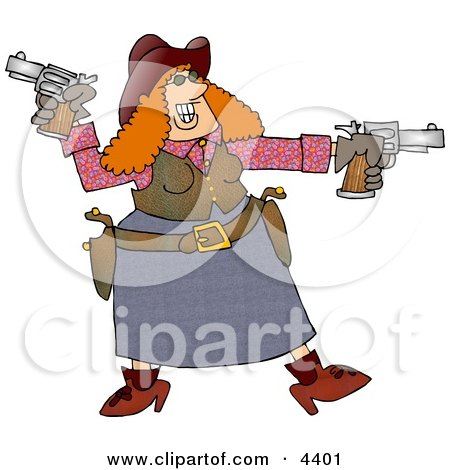 Happy Redhead Cowgirl Target Practicing with Two Pistols Clipart by djart