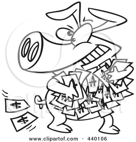 Royalty-Free (RF) Clip Art Illustration of a Cartoon Black And White Outline Design Of A Greedy Pig With Money by toonaday