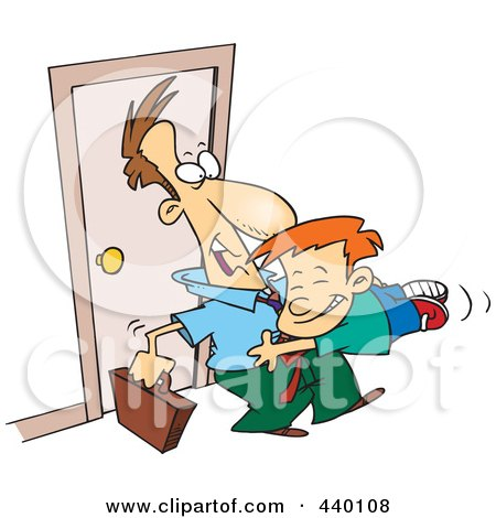 Royalty-Free (RF) Clip Art Illustration of a Cartoon Boy Jumping On His Dad When He Arrives Home by toonaday
