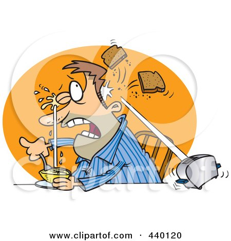 Royalty-Free (RF) Clip Art Illustration of a Cartoon Man Squirting His Eye With Grapefruit And A Toaster Hitting Him With Toast by toonaday