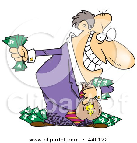 Royalty-Free (RF) Clip Art Illustration of a Cartoon Greedy Rich Businessman Holding His Money by toonaday