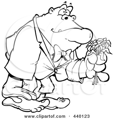 Royalty-Free (RF) Clip Art Illustration of a Cartoon Black And White Outline Design Of A Romantic Gorilla Holding Flowers by toonaday