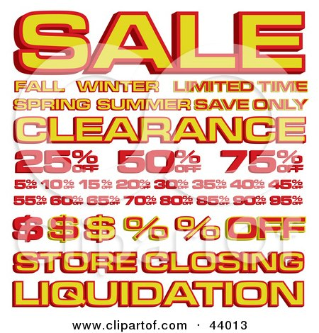 Clipart Illustration of a Collage Of Retail Sales Prices And Text by Arena Creative