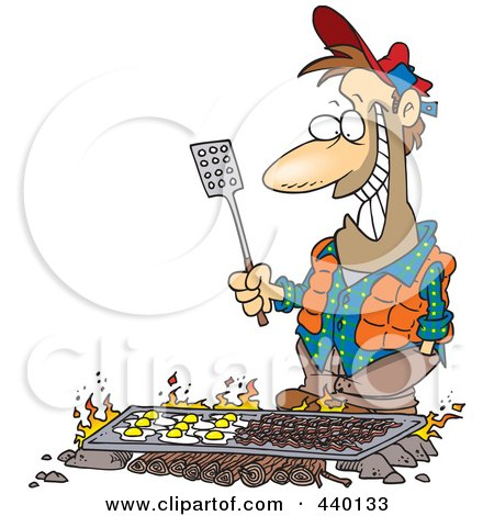 Royalty-Free (RF) Clip Art Illustration of a Cartoon Man Cooking On A Griddle Over A Camp Fire by toonaday