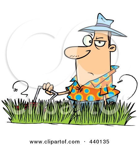 Royalty-Free (RF) Clip Art Illustration of a Cartoon Man Mowing Tall Grass by toonaday