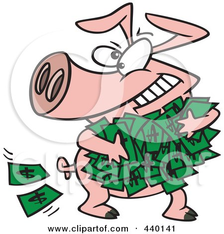 Royalty-Free (RF) Clip Art Illustration of a Cartoon Greedy Pig With Money by toonaday