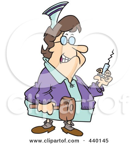 Royalty-Free (RF) Clip Art Illustration of a Cartoon Grim Nurse Holding A Syringe And Hammer by toonaday