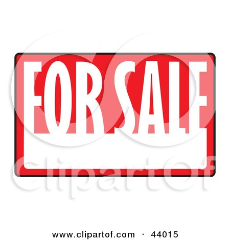 Clipart Illustration of a Black Red And White For Sale Sign With Space For Information by Arena Creative