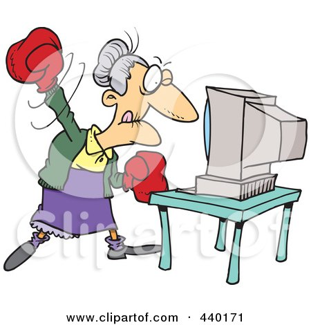 Royalty-Free (RF) Clip Art Illustration of a Cartoon Mad Granny Beating A Computer With Boxing Gloves by toonaday