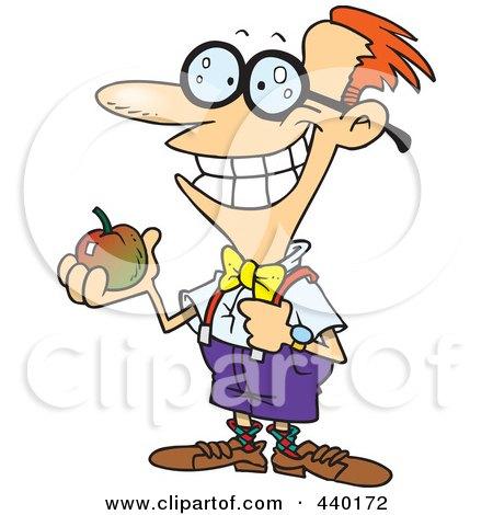 Royalty-Free (RF) Clip Art Illustration of a Cartoon Nerdy School Boy Holding An Apple by toonaday