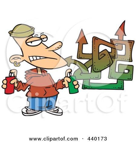 Royalty-Free (RF) Clip Art Illustration of a Cartoon Punk Boy Spray Painting Graffiti by toonaday