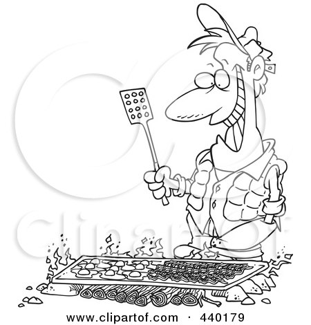 Royalty-Free (RF) Clip Art Illustration of a Cartoon Black And White Outline Design Of A Man Cooking On A Griddle Over A Camp Fire by toonaday