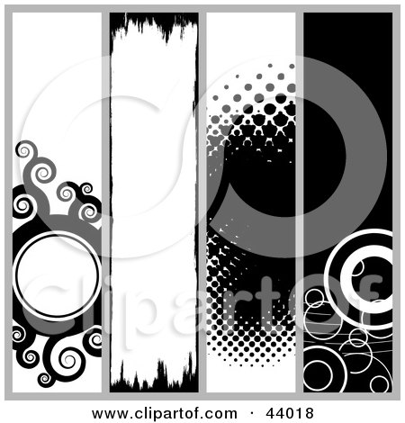 Clipart Illustration of a Collage Of Black And White Circle, Halftone And Grunge Website Headers Or Banners by Arena Creative