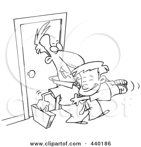 Royalty-Free (RF) Clip Art Illustration of a Cartoon Black And White Outline Design Of A Boy Jumping On His Dad When He Arrives Home by toonaday