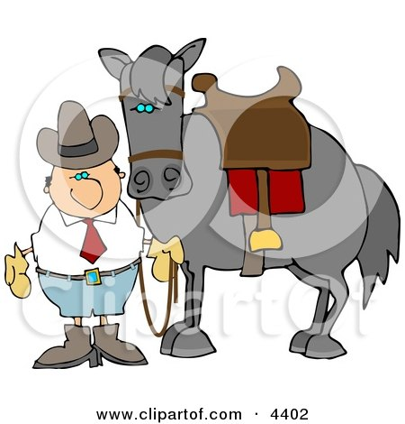Cowboy Standing Beside A Saddled Horse Clipart