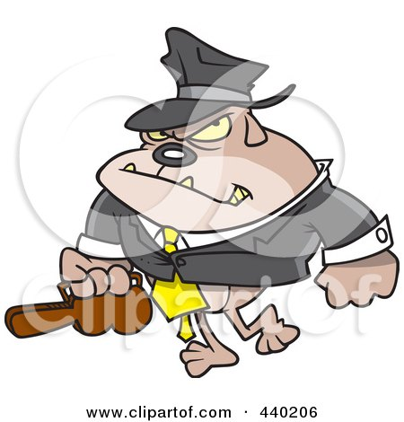Royalty-Free (RF) Clip Art Illustration of a Cartoon Gangster Bulldog Carrying A Violin Case by toonaday