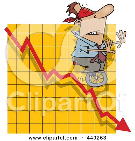 Cartoon Blindfolded Man Unicycling Down A Graph Posters, Art Prints