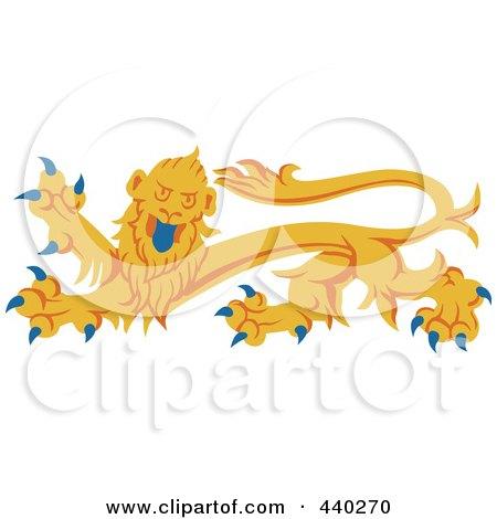 Royalty-Free (RF) Clip Art Illustration of a Yellow Heraldic Lion Logo by dero