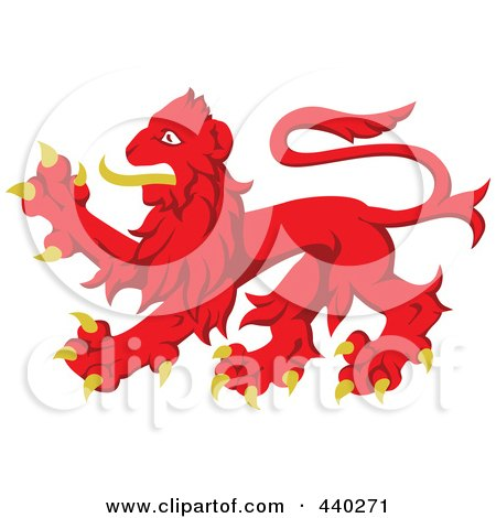 Royalty-Free (RF) Clip Art Illustration of a Red And Yellow Heraldic Lion Logo by dero