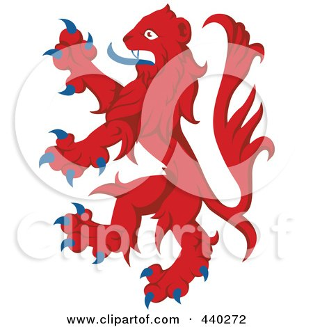 Royalty-Free (RF) Clip Art Illustration of a Red And Blue Heraldic Lion Logo by dero