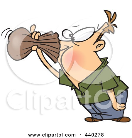 Royalty-Free (RF) Clip Art Illustration of a Cartoon Nauseous Man Breathing Into A Paper Bag by Ron Leishman