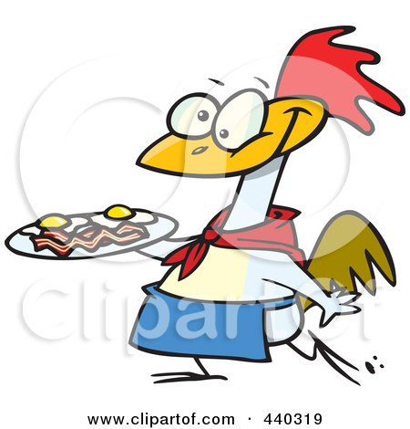 Royalty-Free (RF) Clip Art Illustration of a Cartoon Chicken Carrying A Plate Of Eggs And Bacon by toonaday