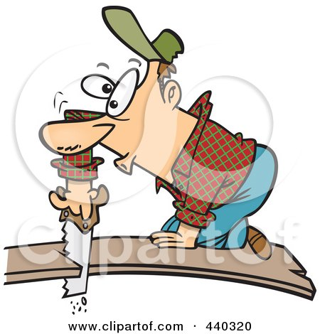 Royalty-Free (RF) Clip Art Illustration of a Cartoon Bad Carpenter Cutting Himself Off Of A Board by toonaday