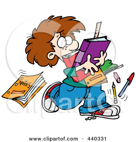 Royalty-Free (RF) Clip Art Illustration of a Cartoon School Boy Dropping Notes by toonaday