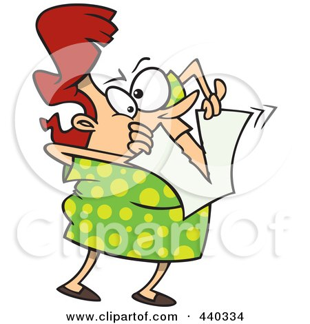 Royalty-free clipart picture of a woman tearing up her bad