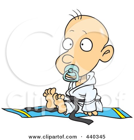 Royalty-Free (RF) Clip Art Illustration of a Cartoon Baby Boy In A Judoka Robe by toonaday