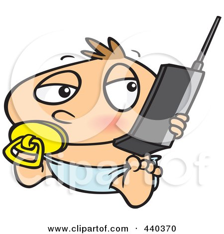 Royalty-Free (RF) Clip Art Illustration of a Cartoon Baby Boy Using A Cell Phone by toonaday