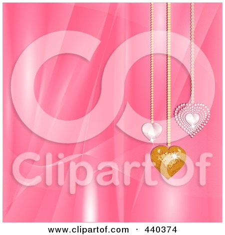 Royalty-Free (RF) Clip Art Illustration of a Pink Silky Valentine's Day Background With Diamond And Mosaic Heart Pendants by elaineitalia