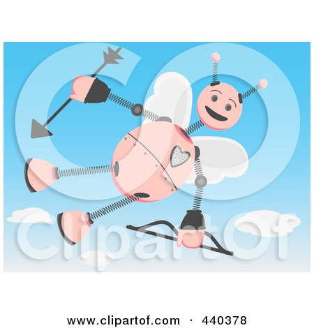 Royalty-Free (RF) Clip Art Illustration of a Cupid Robot Flying In A Sky by mheld