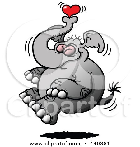Royalty-Free (RF) Clip Art Illustration of a Happy Elephant Floating With A Heart by Zooco