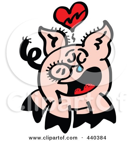 Royalty-Free (RF) Clip Art Illustration of a Broken Hearted Pig Crying - 2 by Zooco