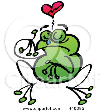 Royalty-Free (RF) Clip Art Illustration of a Broken Hearted Frog Crying - 2 by Zooco