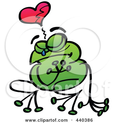 Royalty-Free (RF) Clip Art Illustration of a Broken Hearted Frog Crying - 1 by Zooco