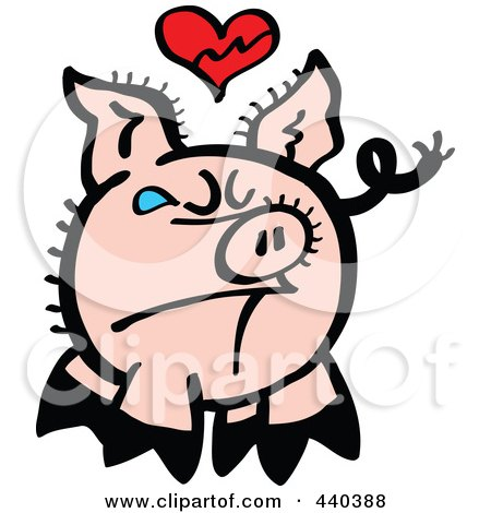 Royalty-Free (RF) Clip Art Illustration of a Broken Hearted Pig Crying - 1 by Zooco