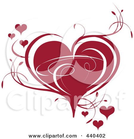 Royalty-Free (RF) Clip Art Illustration of a Deep Red Heart With Vines by Vitmary Rodriguez