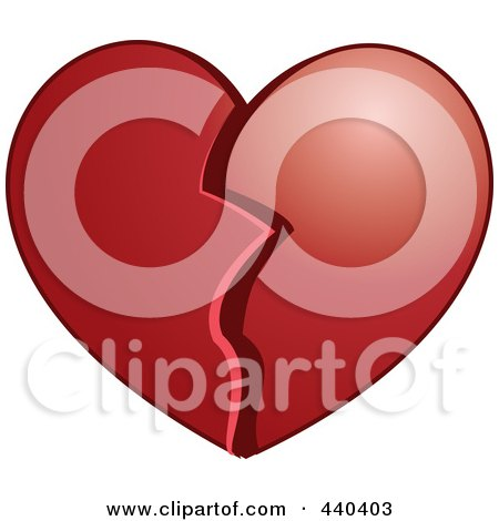 Royalty-Free (RF) Clip Art Illustration of a Plump Broken Heart by Vitmary Rodriguez
