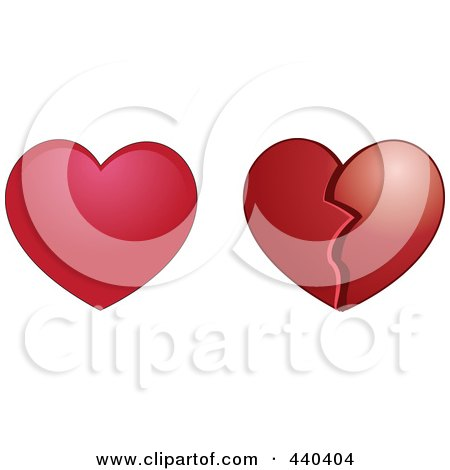 Royalty-Free (RF) Clip Art Illustration of a Digital Collage Of Whole And Broken Red Hearts by Vitmary Rodriguez