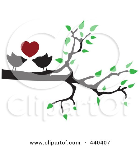 Royalty-Free (RF) Clip Art Illustration of a Pair Of Love Birds Under A Red Heart In A Tree by Vitmary Rodriguez