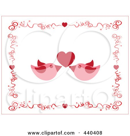 Pair Of Pink Love Birds Under A Red Heart, Borderd By Swirls And Hearts Posters, Art Prints