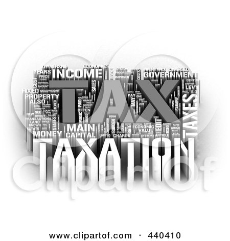 Royalty-Free (RF) Clip Art Illustration of a 3d Tax Word Collage - 2 by MacX