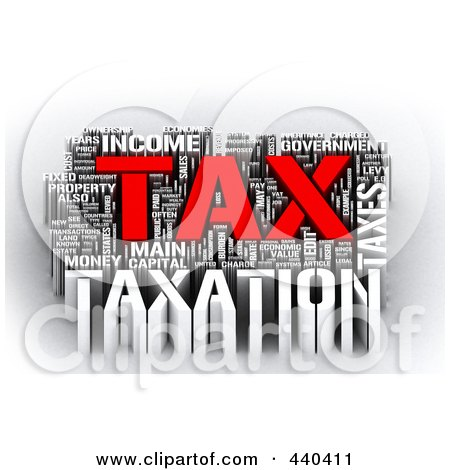 Royalty-Free (RF) Clip Art Illustration of a 3d Tax Word Collage - 3 by MacX