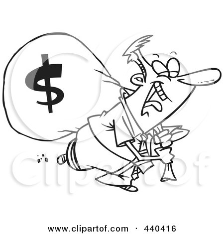 Royalty-Free (RF) Clip Art Illustration of a Cartoon Black And White Outline Design Of A Businessman Laughing On His Way To The Bank by toonaday