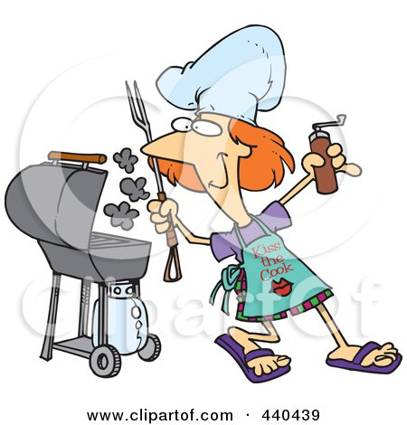 Royalty-Free (RF) Clip Art Illustration of a Cartoon Woman Holding A Spice Grinder By Her Bbq by toonaday